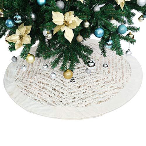 Abobo 50Christmas Tree Skirt - White & Golden Short Faux Fur (Heirloom Quality)