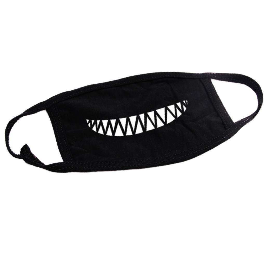 yangfr Mouth Mask Fashion,Face Mouth CoverUnisex Outdoor Cartoon Teeth Printed Face Mouth Mask Washable Cotton Breathable