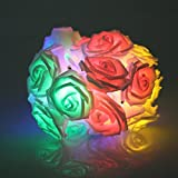20 LED Battery Operated Rose Flower Fairy Lights Wedding Garden Party Christmas Decoration String Lights (Mixed Colour)