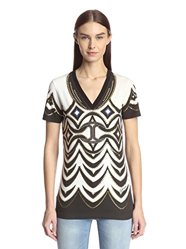 Just Cavalli Women's Print Front Top with Studs, White, M