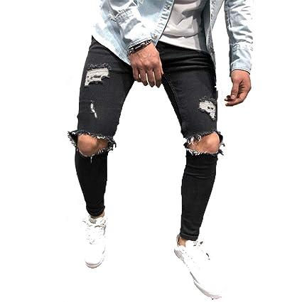 GZYD Jeans de Hombre Color sólido Agujero Cómodo Slim Fit ...