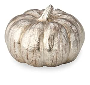 October Hill Metallic Silver Pumpkin of Mine Decoration, 5.25-Inch