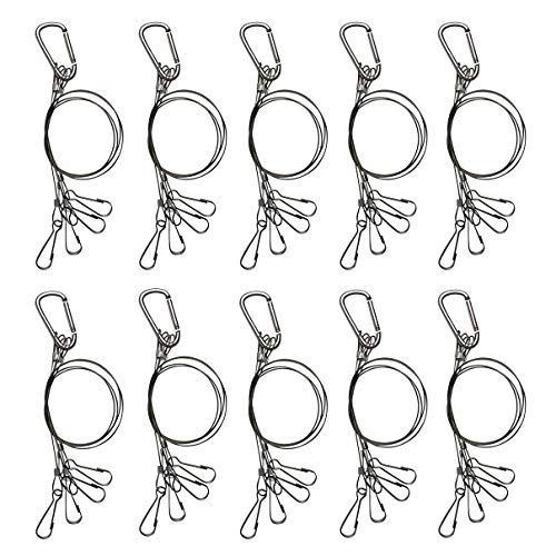 Bayyee Hanging Basket Plant Hanger Holders for Indoor and Outdoor Plants, LED Grow Light Aquarium Tank Lamp,Stainless Steel Rope (Silver 10PCS)