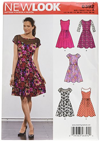 New Look Sewing Pattern UN6392A Autumn Collection Misses' Dresses with Contrast Fabric Options Sewing Patterns, A (10-12-14-16-18-20-22) ()