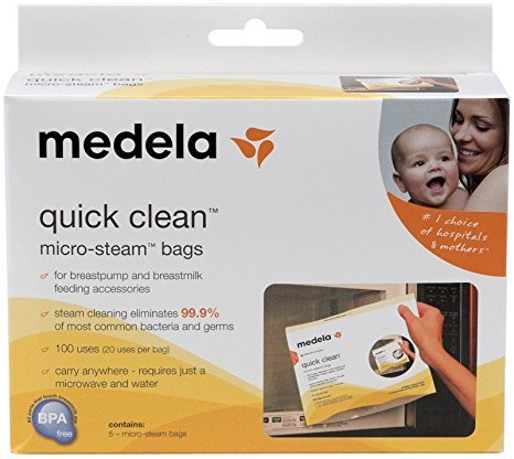 Medela Quick Clean Micro-Steam Bags Economy Pack of 4 retail boxes (20 Bags Total) (Bag Quick)