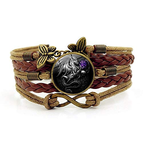 YUANOMSL Woven Bracelet,Brown Rope Fierce Gray Western Dragon Animal,Time Gemstone Bracelet Multi-Layer Hand-Woven Glass Combination Jewelry Ladies Fashion European and American Style Jewelry (Western Pendant Gems)