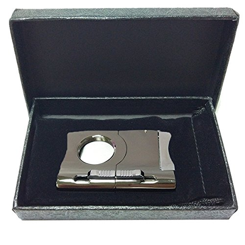 2019 Cigar Cutter Built In Two Cigar Punch - Silver Color Chrome Finish - Self Sharpening Blades - Stainless Steel - Black Gift Box - Suitable for Travel - Smoking Accessories - Gifts for Dad by BSWEEII (Image #6)