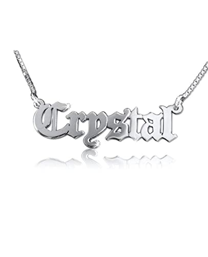81f83de0dec12 hacool Personalized 925 Sterling Silver Old English Font Name Necklace  Custom Made with Any Name