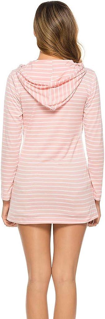 Sweat-Shirt dallaitement /à Capuche Ray/é de Maternit/é Femmes Enceintes Allaitement Maternit/é col Rond /à Manches Longues Haut Chemisier Jupe Courte Pyjama de Maternit/é pour H/ôpital Pyjama