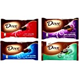 DOVE Chocolate, Promises, VARIETY 4 PACK: 1 Package of DARK CHOCOLATE, 1 Package of MILK CHOCOLATE, 1 Package of ALMOND DARK CHOCOLATE, 1 Package of MINT & DARK CHOCOLATE SWIRL. 9.5 oz packages. Each package contains about 35 delicious individually wrapped pieces.