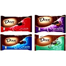 DOVE Chocolate, Promises, VARIETY 4 PACK: 1 Package of DARK CHOCOLATE 8.87 oz, 1 Package of MILK CHOCOLATE 8.87 oz, 1 Package of ALMOND DARK CHOCOLATE 7.94 oz, 1 Package of MINT & DARK CHOCOLATE SWIRL. 7.94 oz packages. Each package contains about 35 delicious individually wrapped pieces.