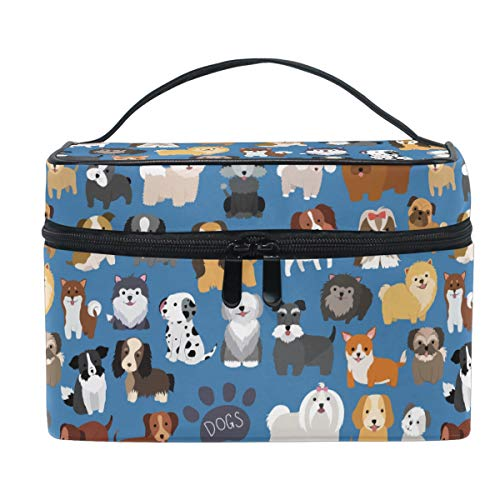 Cute Dog Puppy Makeup Bag Cosmetic Bag Toiletry Travel Brush Bag Train Case for Women Funny Cartoon Animal Paw Zip Carrying Portable Multifunctional Organizer Storage Pouch Bags Box]()
