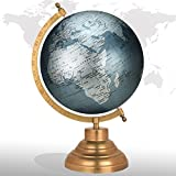 World Map Globe Decorative Rotating Grey 8'' Inches Metal Base Educational Globe Office Table Topper