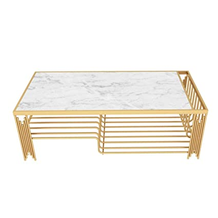 Amazon Com Wrought Iron Coffee Table Natural Marble Table Top