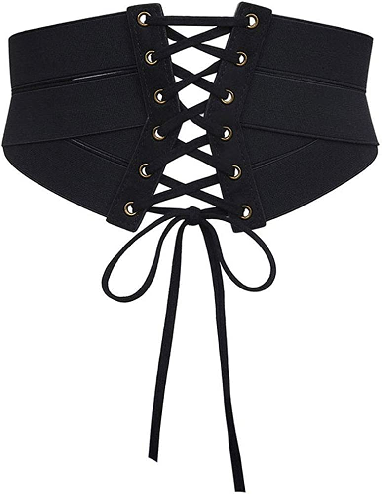 Women Waist Cincher Adustable Wide Band Elastic Tied Waspie Corset Leather Belt