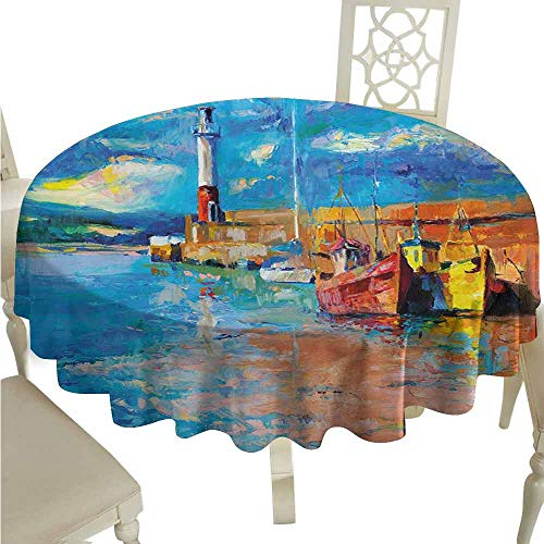 duommhome Art Oil-Proof Tablecloth Oil Painting Tones Style Lighthouse and Boats on Sea Shore Town Coastal Charm Picture Easy Care D47 Multicolor