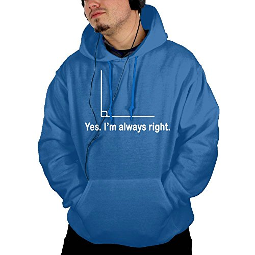 ZhiqianDF Mens Geometry Right Angle Fashion Hiking Royalblue Hoody XXL With Pocket