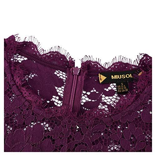 Vintage Coctel 4 Miusol 3 Vestito Manica 1940s Donna Corta A Pizzo Magenta UwUCqE