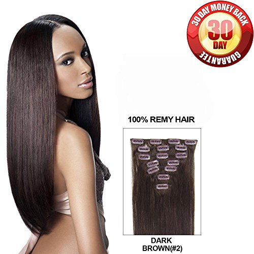 HESA Clip in Human Remy Hair Extension Full Head Straight 7pcs per Set 110g 20 Inches Dark (Sew A Belle Costume)