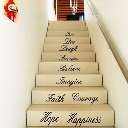 FANGLEE Love Live Laugh Dream Believe Imagine Faith Courage Hope Happiness Quotes Wall Decal for Home Decor Stairs Vinyl Wall Sticker