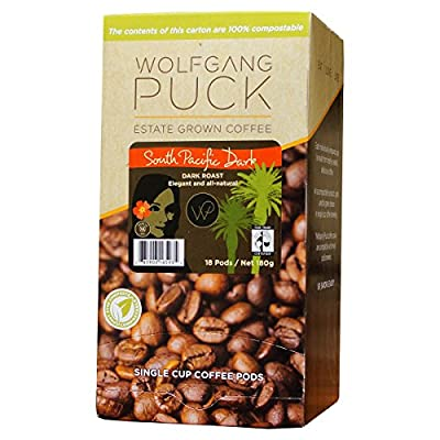 Wolfgang Puck Coffee, Organic Fair Trade, South Pacific Dark Coffee, 9.5 Gram Pods, 18 Count