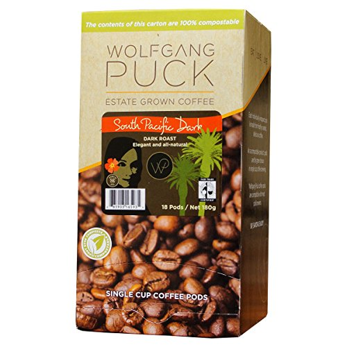 Wolfgang Puck Coffee, Structural Fair Trade, South Pacific Dark Coffee, 9.5 Gram Pods, 6 x 18 Count