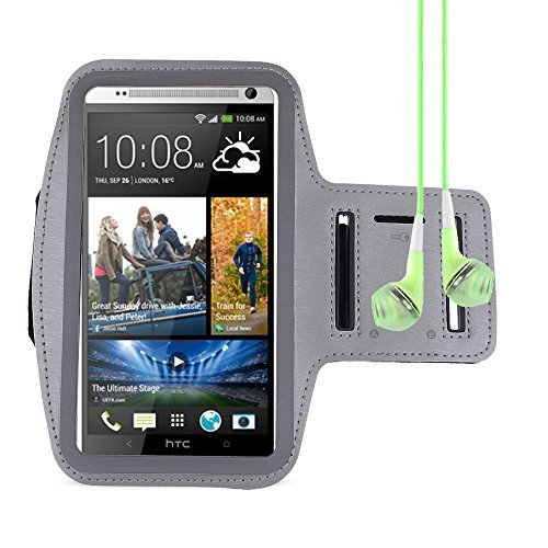 Universal Workout Sports Armband for HTC ONE MAX / Samsung galaxy Mega 6.3 / Mega 5.8 + VanGoddy Headphone with MIC , Green ()
