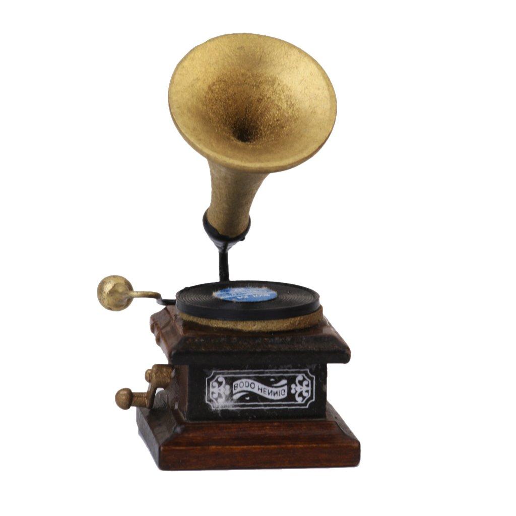 1/12 Fonógrafo Miniatura Decoración Artesanías Tocadiscos Modelo De Casa De Muñecas Generic
