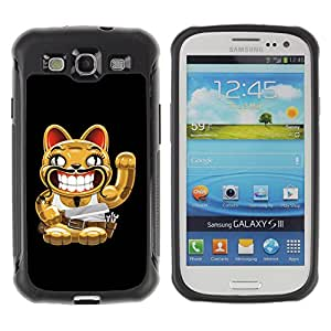 ZeTech Rugged Armor Protection Case Cover - Funny Cat With Moustache - Samsung Galaxy S3