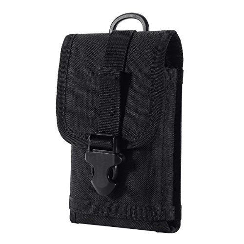 Holster Duty Plus - Zeato EDC Tactical Military MOLLE Phone Pouch Waist Clip-On Holster Bag with Belt Clip 1000D Nylon Touch Duty for iPhone X/XR/XS 7 Plus 6S 6 Plus Galaxy Note 9 S10 S8 S7 Edge LG Sony and More (Black)