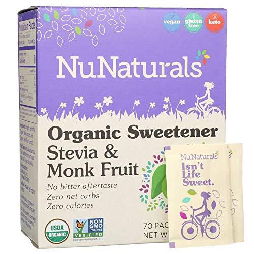 NuNaturals Organic Sugar-Free Stevia & Monk Fruit Sweetener Packets, (70 Packets)