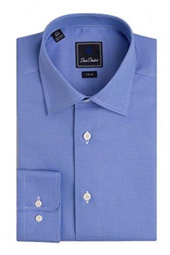David Donahue Men's Micro Birdseye Barrel Cuff Trim Fit Dress Shirt - Blue: Size 16, 36/37 by David Donahue
