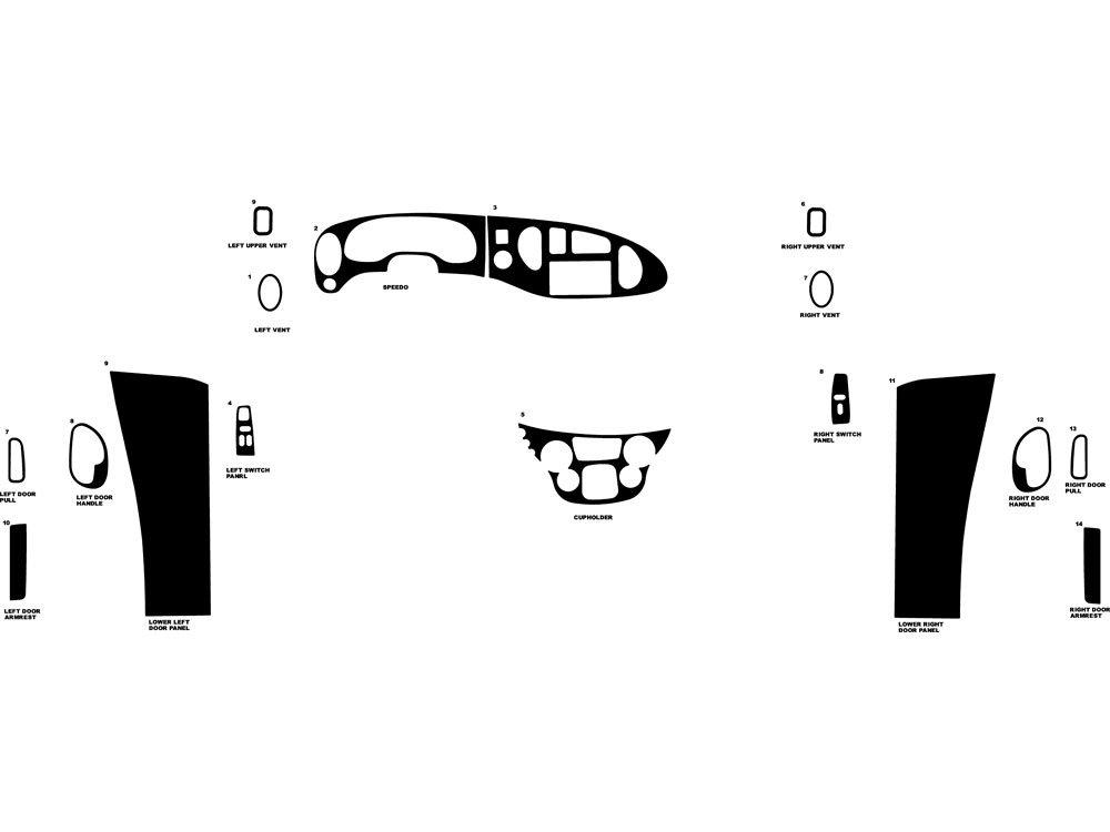 Rdash Dash Kit Decal Trim for Ford E-150 / E-250 / E-350 2000-2005 - Wood Grain (Oak Blonde) Rvinyl