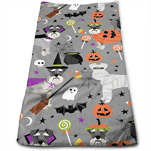 Schnauzer Dog Halloween Spooky Dog Costumes - Hand Towels Dishcloth Floral Linen Hand Towels Super Soft Extra Absorbent for Bath,Spa and Gym 11.8