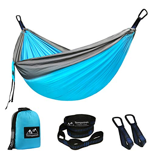 Tempotrek Double Camping Hammock -Best Parachute Hammock - 800LB High Capacity, Lightweight Nylon Portable Hammock for Backpacking, Travel, Beach, Yard. 118