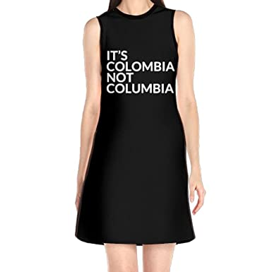 Womens Sleeveless Dresses Its Colombia Not Columbia O-Neck Midi Dress