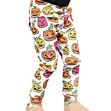 XILALU Toddler Kids Baby Halloween Pants - Girls Pumpkin Skeleton Print Cotton Blend Outfits Skinny Leggings (6M-4T)
