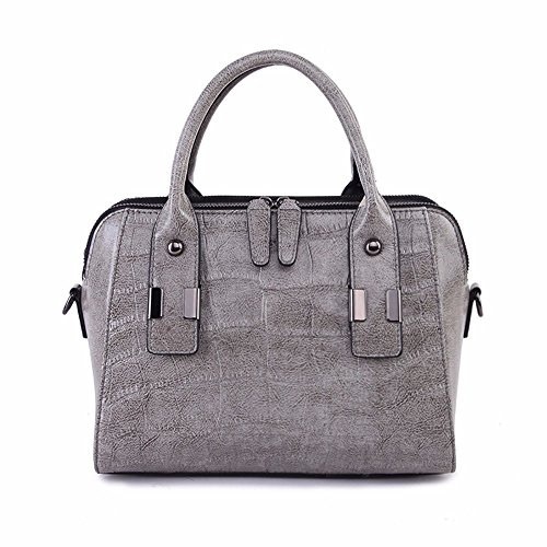 Solo hombro de cuero cruz oblicua bolsa bolsa ganado moda cruz oblicua bag bolso, 26*20*13cm, negro Gris