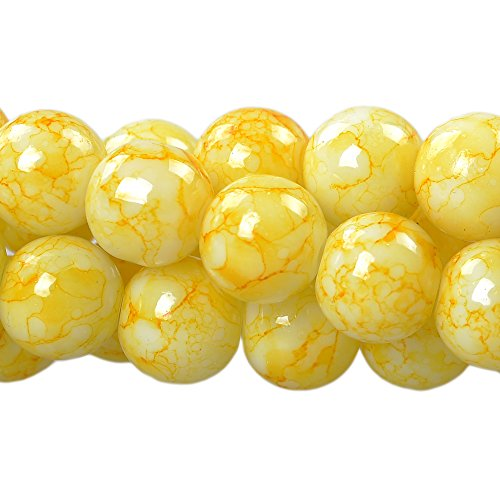 RUBYCA 10mm 2 Strands Czech Glass Round Beads Light Yellow Painted Colored String Jewelry Making - Yellow Lampwork Glass
