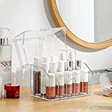 SUNFICON Lipsticks Holder Organizer Clear Lipsticks Storage Box Crystal Clear Lip Gloss Display Case 15 Slots with Dustproof
