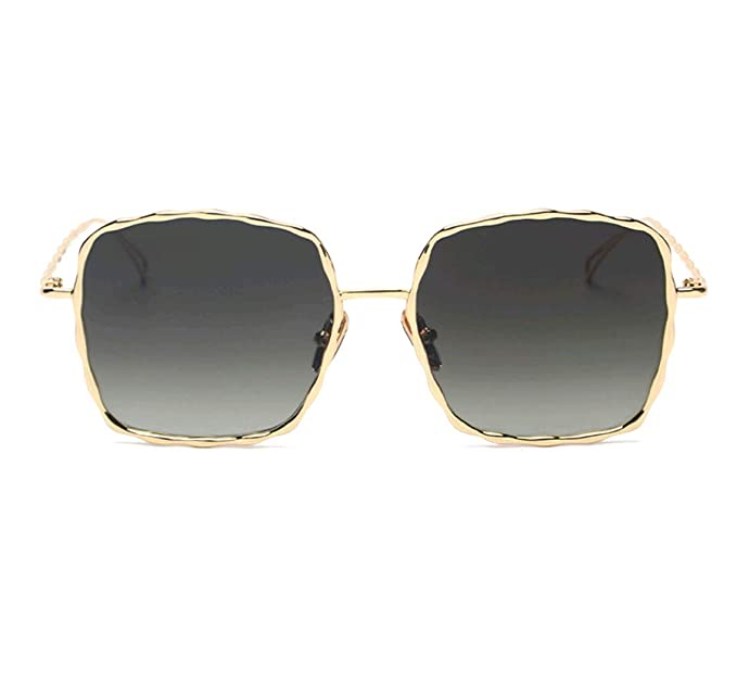 0459765246ac0 GAMT Square Sunglasses for Women Men Metal Frame Vintage Wavy Line Oversized  Eyewear gold Frame grey