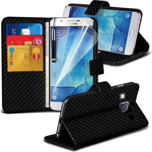 Samsung Galaxy A8 Carbon Cubierta del caso con cuero (Negro) Plus de regalo libre, Protector de pantalla y un lápiz óptico, Solicitar ahora mejor caja del teléfono Valorado en Amazon! By FinestPhoneCa