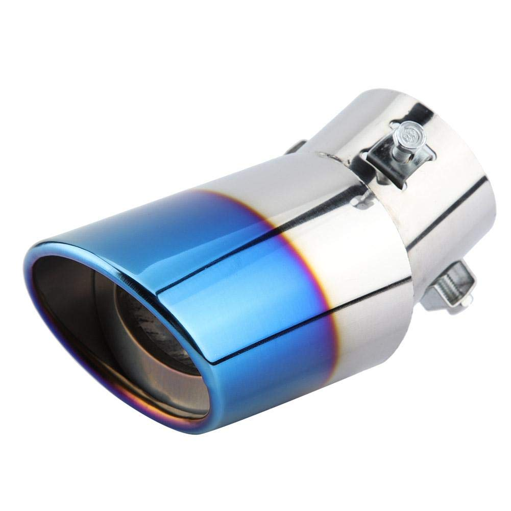 Suuonee Car Exhaust Pipe, Universal Stainless Steel Exhaust Tail Tip Blue Chrome Car Curved Muffler Pipe Tail Throat