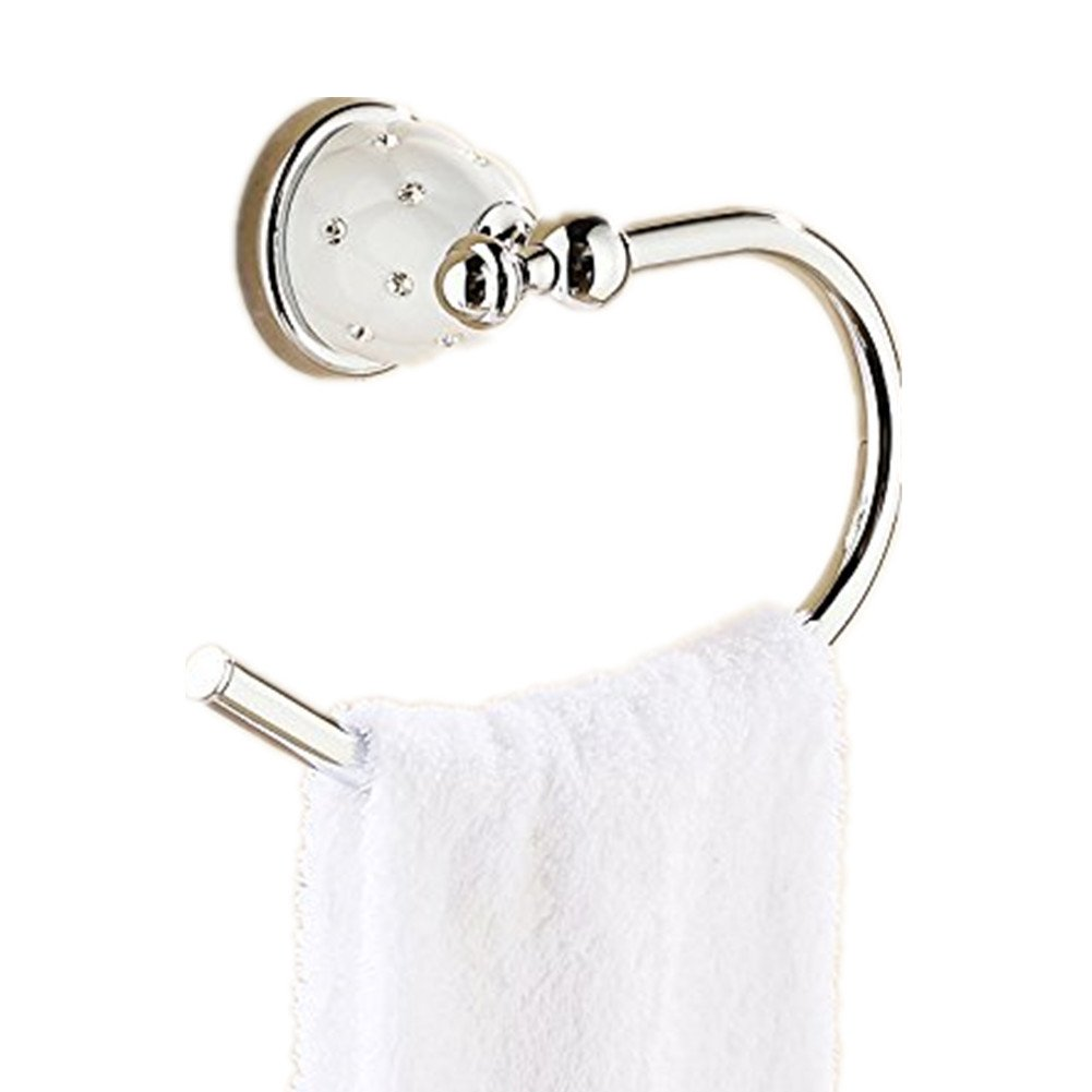 AUSWIND Modern Star Diamond Polished Solid Brass Silver Towel Ring Polished Wall Mounted Bathroom Accessories