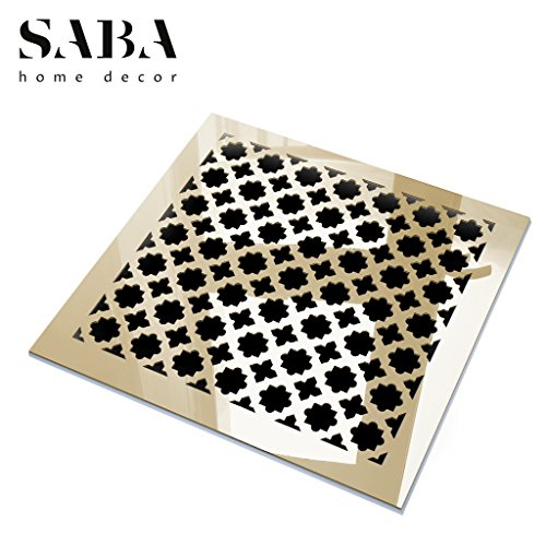 Saba Air Vent Cover Grille - Acrylic Fiberglass 12'' x 12'' Duct Opening (14'' x 14'' Overall) Gold Mirror Finish Register Covers for Walls and Ceilings NOT for Floor USE, Venetian by SABA Home Decor (Image #2)