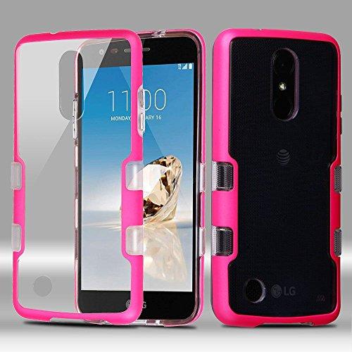 LG Aristo/Fortune/K4 (2017)/K8 (2017)/Phoenix 3 Case, Mybat Tuff Dual Layer Protection Hybrid Crystal PC/TPU Rubber Case Cover For LG Aristo/Fortune/K4 (2017)/K8 (2017)/Phoenix 3, Clear/Pink (Evo Htc Phones 3d Mobile Virgin)