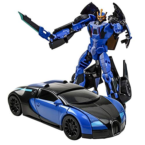 Kikioo 1:32 Mini Deformation Vehicle Autobots Model Dual Mode Deform Robot Manual Transformer Sports Car Toys Inertial Transformation Robots Birthday Gifts Xmas Presents For Boys Girls Toddlers Blue