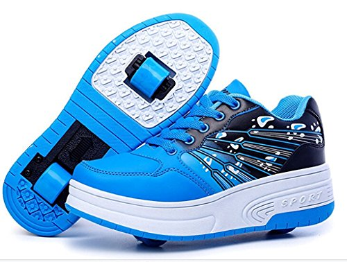 Majony Durable Fashion Boy's Girl's Kid's Single Wheel Double Wheel Skate Shoe Fashion Sneakers Blue US Size 3 M Little Kid Blue(Double Wheel) 3 M US Little Kid