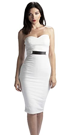 f8d20303f66 Women s Bodycon Sleeveless Belted Textured Stretch Fabic White Dress-Large