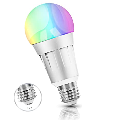 Smart Wifi bombilla, LED Smart Bulb RGB Colour Luz lámpara funciona con Amazon Alexa,